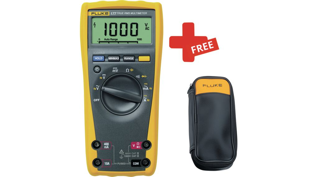 Fluke 177 True-RMS Digital Multimeter + FREE C50 Carrying Case 1kV 100uV  1kV 600mV