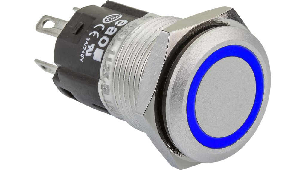 Buy Illuminated Pushbutton Blue 16mm 12V 3 A 1 Change-Over (CO)