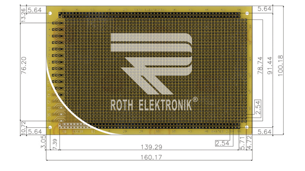 Roth RE323-LF - Laborkarte 100 x 160 mm 2.54 1.0 1.5 FR4 Epoxyd heissverzinnt 14832192