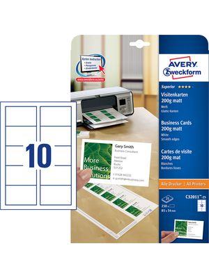 C3201125 Superior Business Cards 25 X 10 Cards 85 X 54 Mm Avery